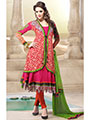 Adah Fashions Embroidered Faux Georgette Semi-Stitched Anarkali Suit - Fuschia