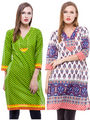 Pack of 2 100% Cotton Printed Kurti-BF-GRNWHT
