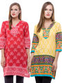Pack of 2 100% Cotton Printed Kurti-BF-REDYLW