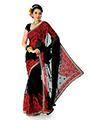 Embroidered Faux georgette Saree - Black-1379