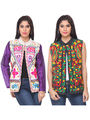 Pack of 2 Lavennder Embroidered Khadi Jackets -lca04