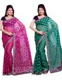 Combo of 2 Ishin Net Jacquard Embroidered Saree-Combo-296