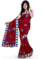 Designer Sareez Embroidered Bhagalpuri Silk Saree - Maroon-527