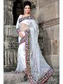 Embroidered Net Saree - White-928