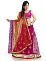 Embroidered Net Saree - Magenta