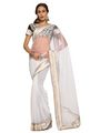 Designer Sareez Net Embroidered Saree - White-1454