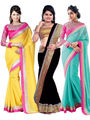 Combo Of 3 Fabfiza Embroidered Georgette Yellow Black & Sky Blue Saree -fb01