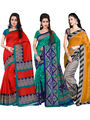 Pack of 3 Florence Printed Bhagalpuri Silk Printed Saree -fs09