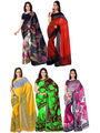 Pack of 5 Florence Printed Faux Georgette Sarees fs10