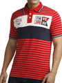 Branded Stripes  Half Sleeves Cotton Tshirt For Men - Red & Blue