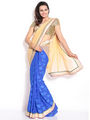 Silkbazar Net Embroidered Saree - Beige And Blue - FL-10004-SEP