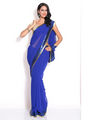 Silkbazar Georgette Embroidered Saree - Blue - FL-1569-SEP