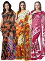 Pack of 3 Florence Printed Faux Georgette Saree - FL_Dani6_ 3_6