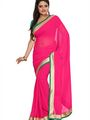 Florence Plain Chiffon Saree - Pink-FL-5001-G