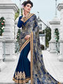 Indian Women Embroidered Satin & Georgette Violet Designer Saree -IC11341