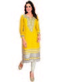 Ishin Faux Georgette Embroidered Kurti - Yellow