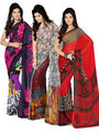Pack of 3 Ishin Georgette Printed Saree - Combo-409