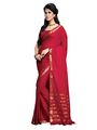 Ishin Cotton Embroidered  Saree - Red-MFCS-Nisreen