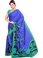 Ishin Printed American Crepe Saree - Blue & Green-ISHIN-1157
