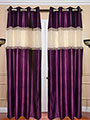 Set of 2 JBG Beautiful Tissue lace Design Door Curtains - Purple & White- JBG373