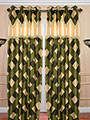 Set of 2 JBG Fancy Lace Check design Door Curtains - Green & Cream- JBG395