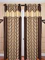 Set of 2 JBG Fancy Lace V design Door Curtains - Brown & Cream- JBG368
