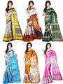 Pack of 6 Shonaya Printed Taffeta Saree -oct06