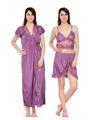 Set of 3 Satin Plain Nightwear-ONW_10_2003_VIOLET