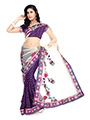 Embroidered Viscose Saree - Purple & Cream
