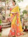 Indian Women Embroidered Moss Chiffon Yellow & Orange Saree -Ra21012