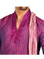 Runako Regular Fit Silk Brocade Kurta Pyjama For Men - Purple
