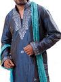 Runako Regular Fit Silk Brocade Kurta Pyjama For Men - Dark Blue