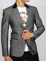Runako Solid Regular Full sleeves Semi Formal Blazer For Men - Grey