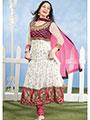 Silkbazar Embroidered Pure Georgette Anarkali Semi-Stitched Dress Material - White-SB-1348